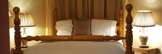Birch Retreat bed with brown accents