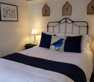 bedroom with white walls and blue accents